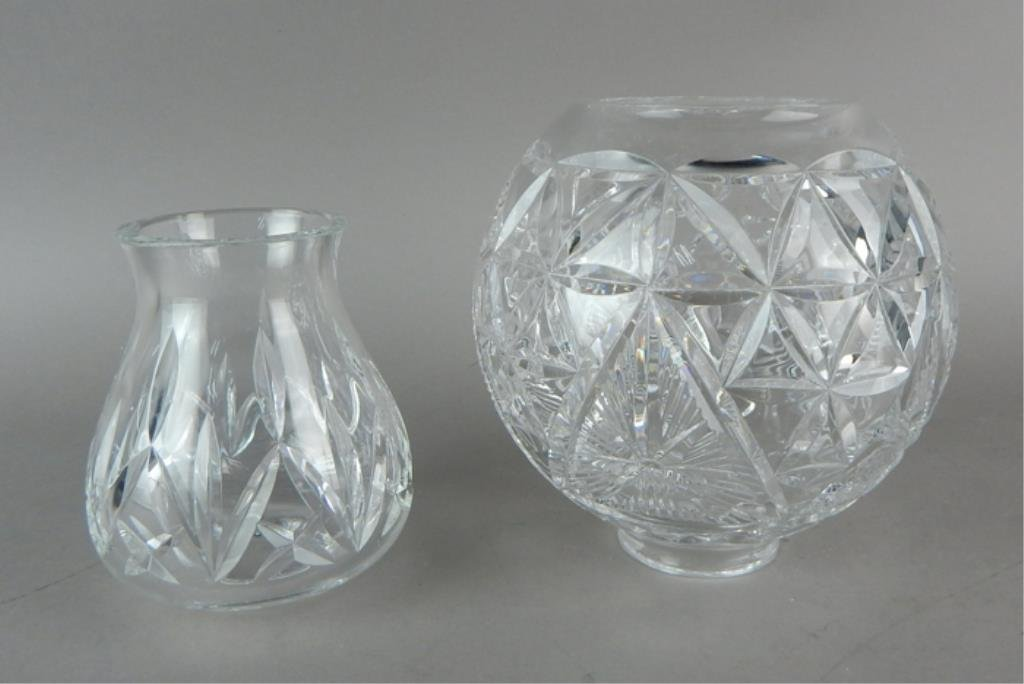 Two Waterford Crystal Hurricane Shades - 2