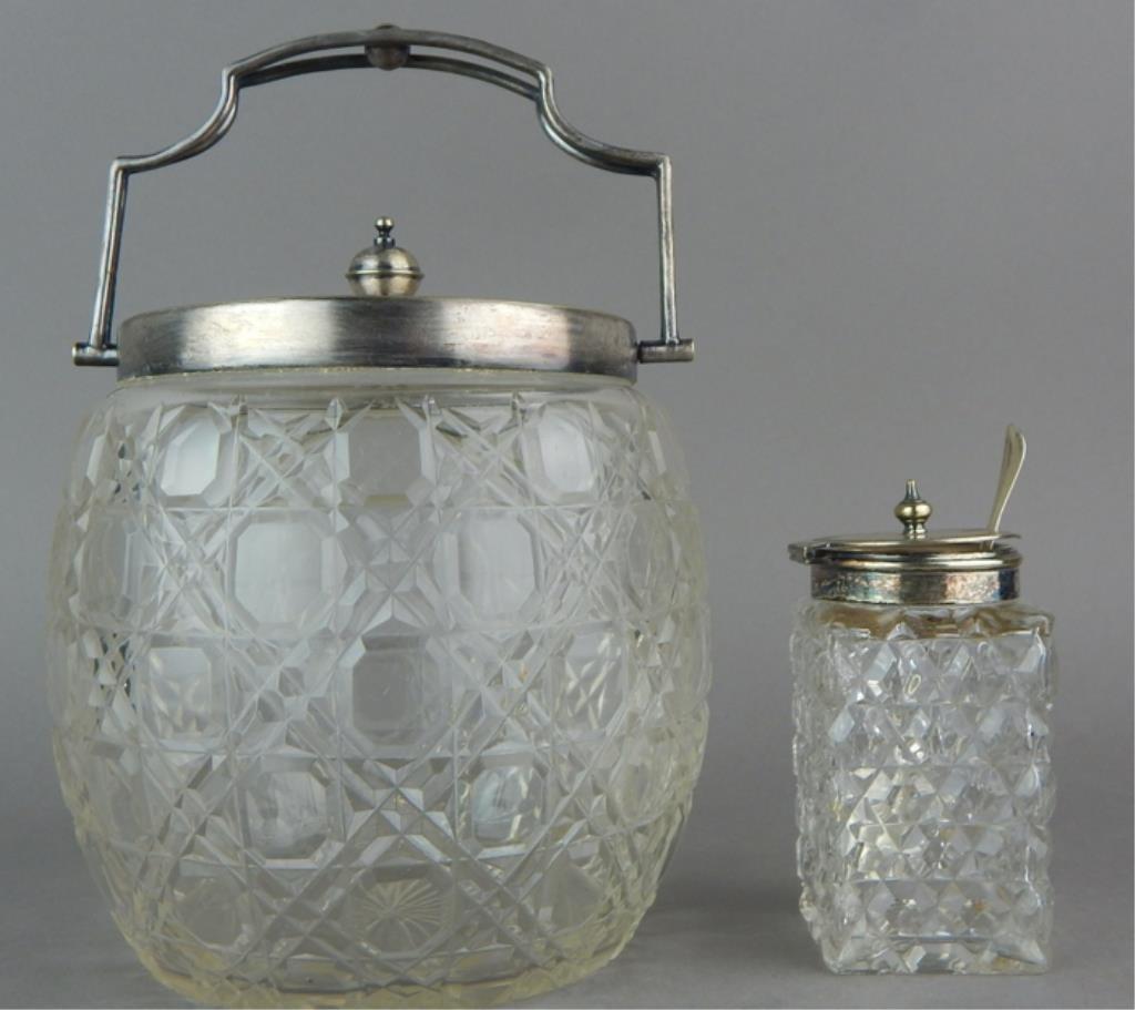 Vintage Cut Crystal Biscuit & Condiment Jars