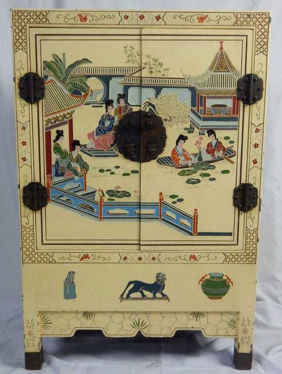 Chinese Hand Painted Lacquered Cabinet