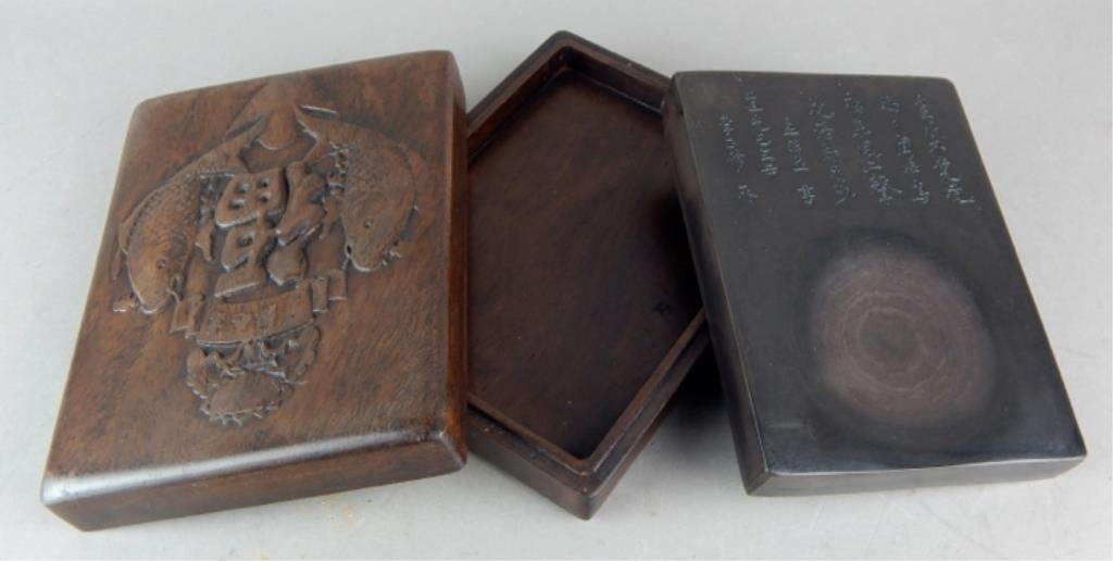 Chinese Ink Stone in Box with Carved Fish on Lid