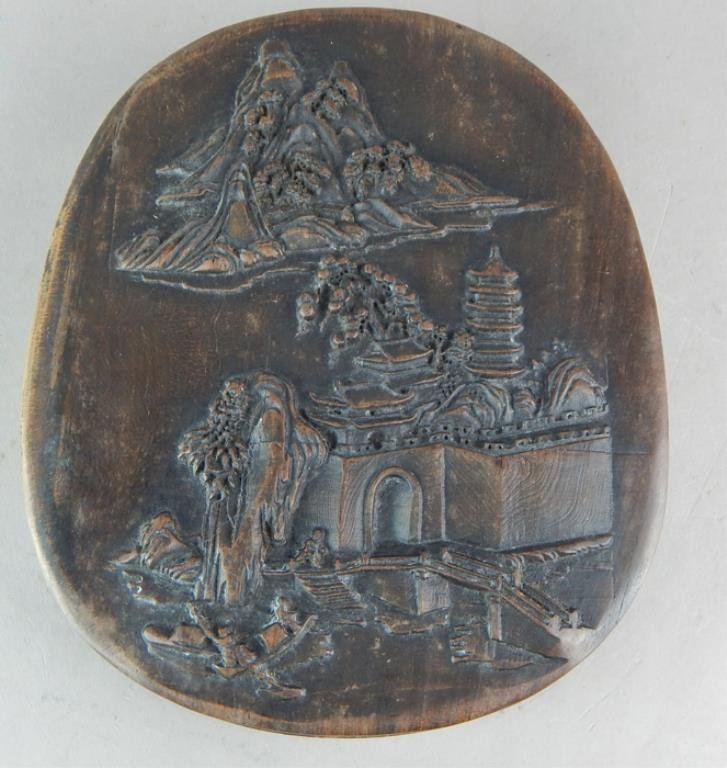 Chinese Ink Stone in Box with Carved Temple Scene