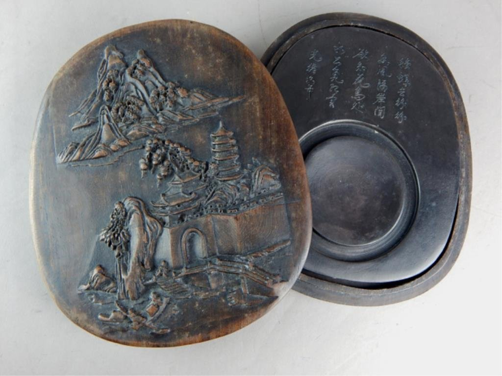 Chinese Ink Stone in Box with Carved Temple Scene - 2