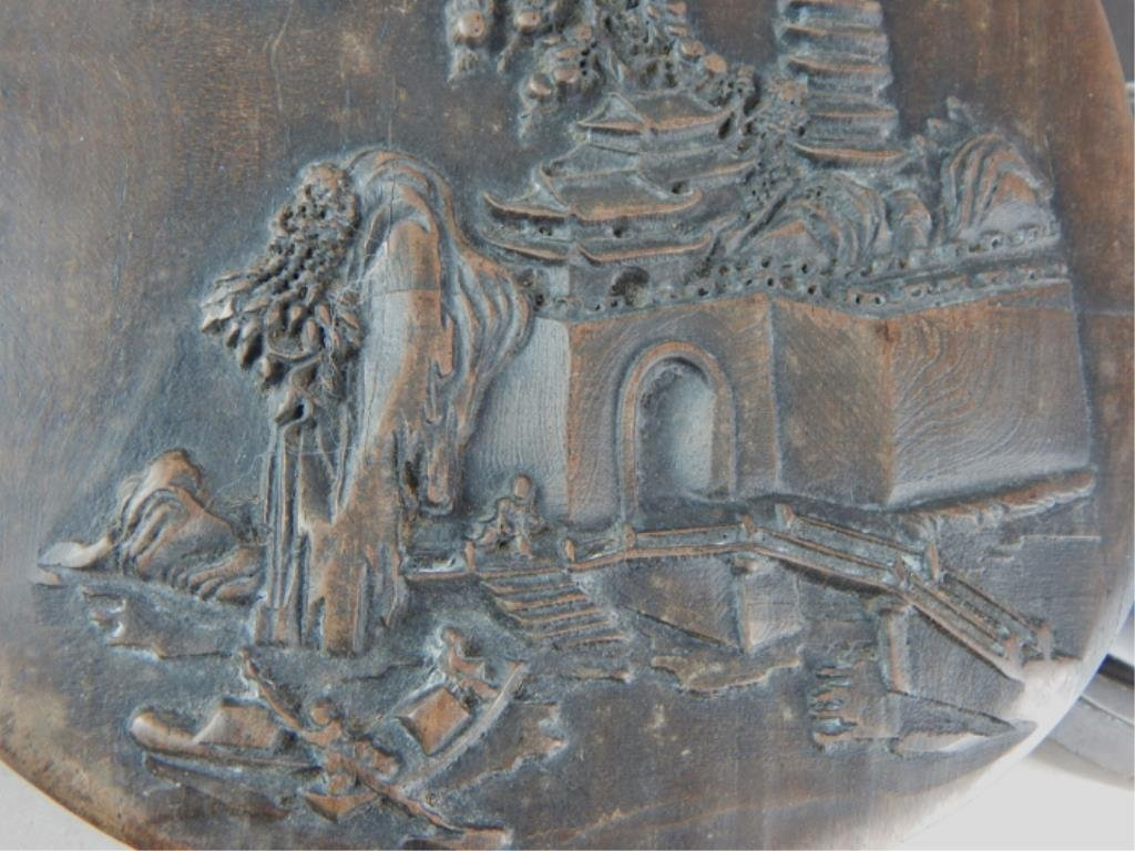 Chinese Ink Stone in Box with Carved Temple Scene - 3
