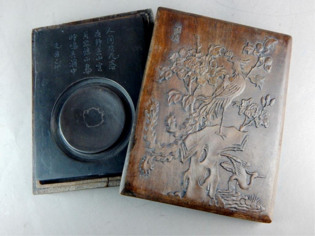 Chinese Ink Stone in Box w/ Carved Phoenix & Peony