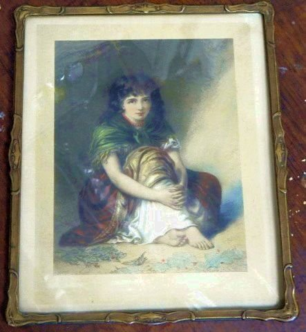 Circa 1920's Colored Print of a Young Girl
