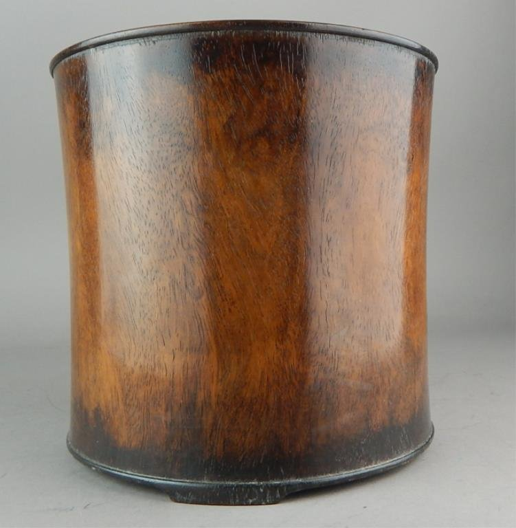 Chinese Carved Hardwood Brush Pot - 2
