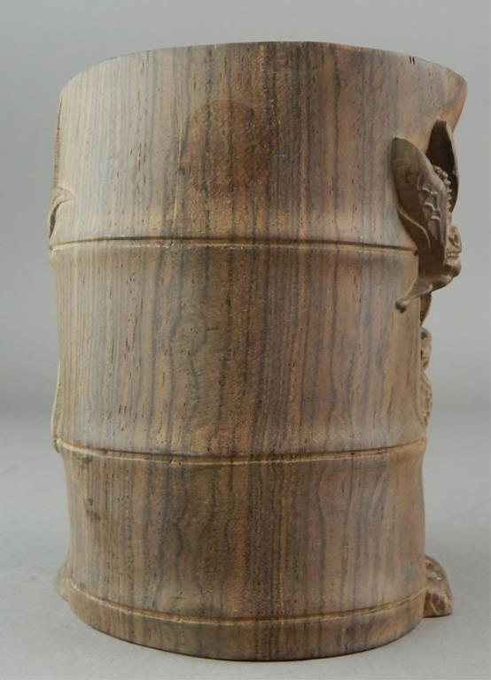 Chinese Carved Hardwood Brush Pot - 4