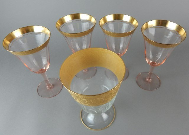 Pink And Clear Glass Stemware With Gold Trim - 3