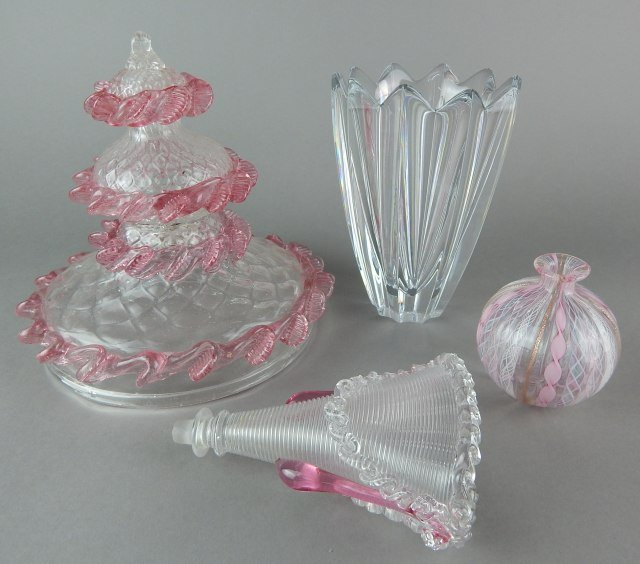 Orrefors Crystal Vase & Venetian Pink Glass