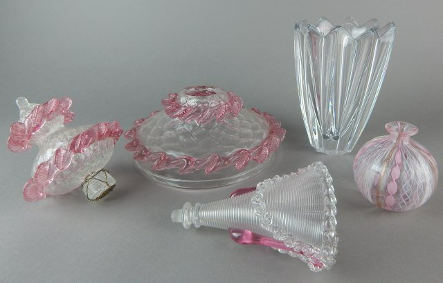 Orrefors Crystal Vase & Venetian Pink Glass - 2