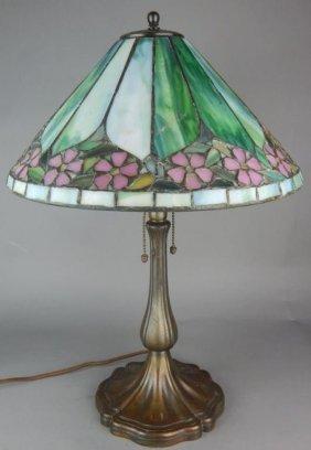 Unique Leaded Glass Lamp w/ Handel Bronze Base