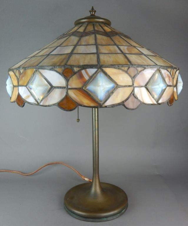 Unique Art Nouveau Leaded Glass Lamp