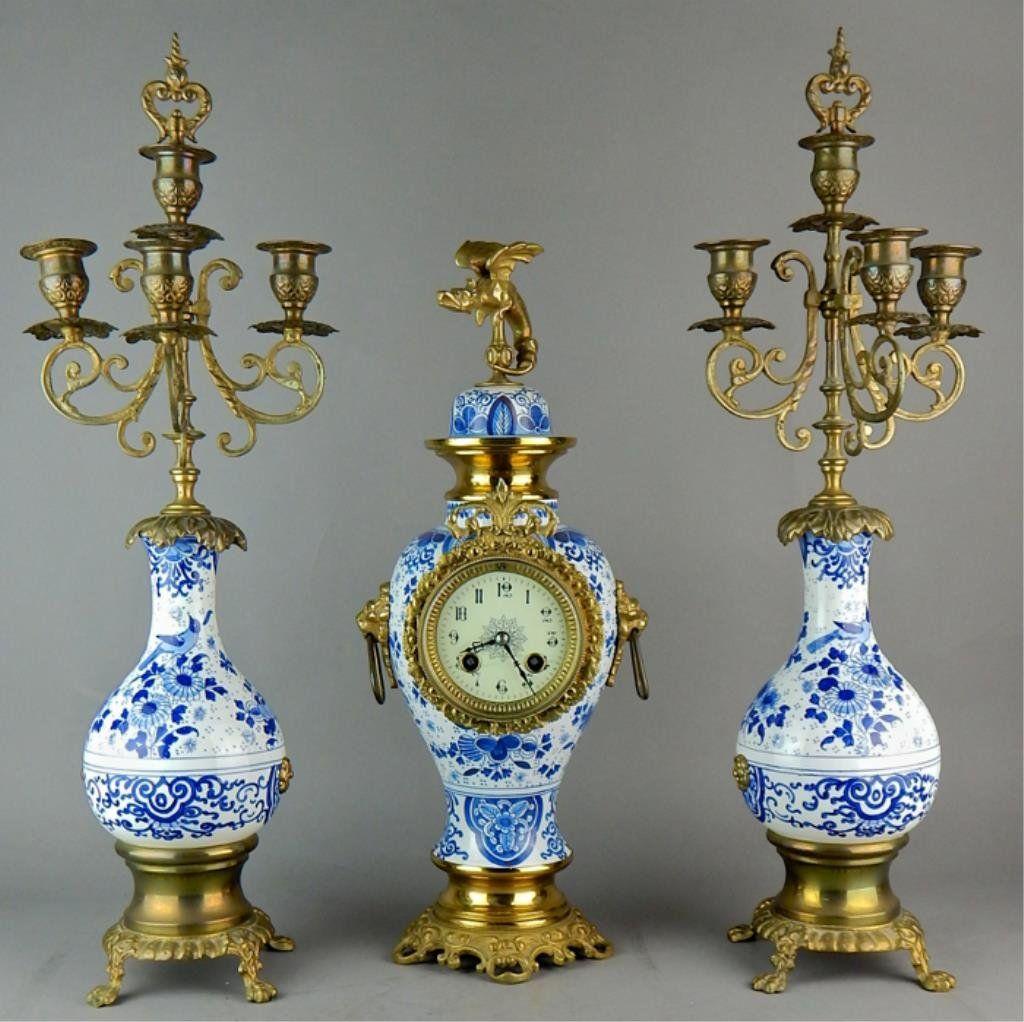 19th Century French Porcelain 3pc Clock Set