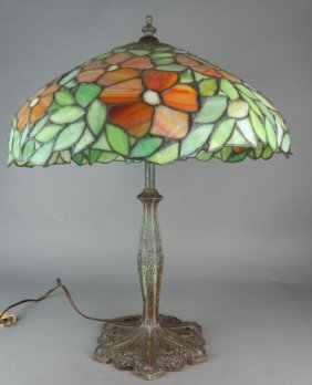 American Leaded Glass Lamp Signed Miller