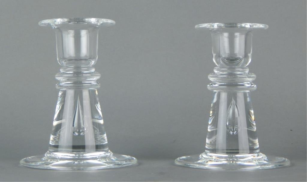 Pair of Steuben Glass Candle Sticks