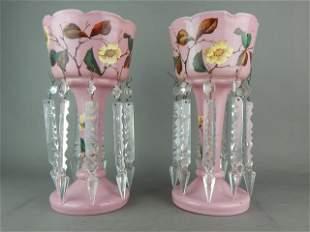 Pair of Victorian Art Nouveau Porcelain Lustre's
