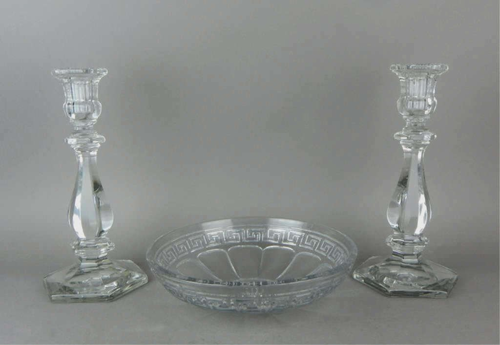 Pair of Heisey Crystal Candle Sticks & Center Bowl