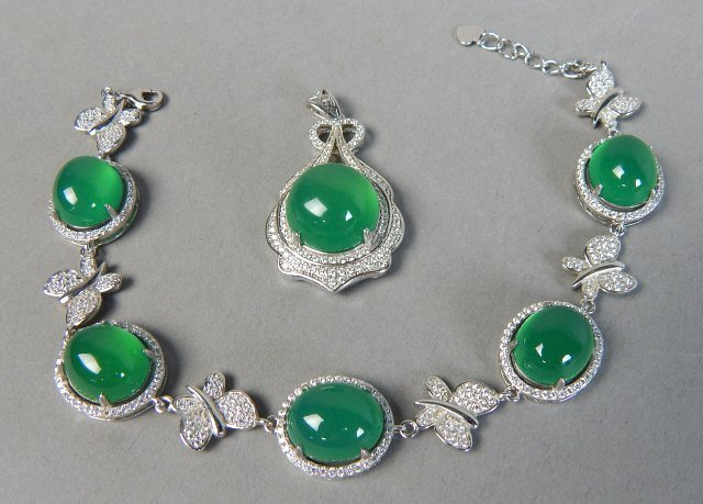 Sterling Silver And Jade Bracelet And Pendant