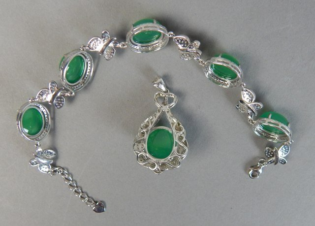 Sterling Silver And Jade Bracelet And Pendant - 2