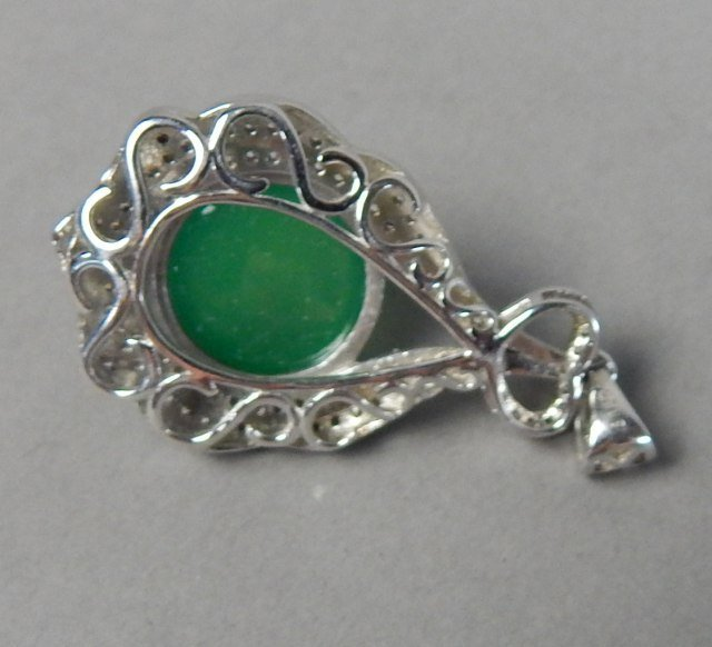 Sterling Silver And Jade Bracelet And Pendant - 3