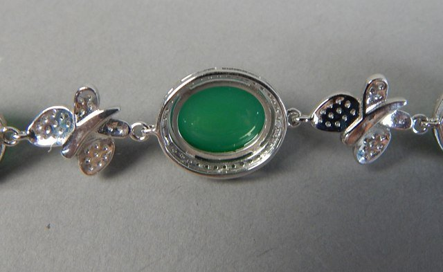 Sterling Silver And Jade Bracelet And Pendant - 4