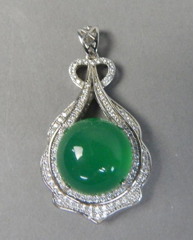 Sterling Silver And Jade Bracelet And Pendant - 5