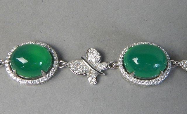 Sterling Silver And Jade Bracelet And Pendant - 6