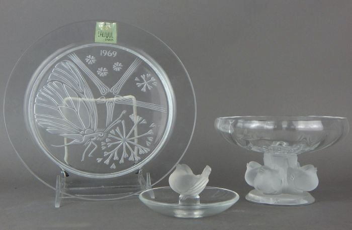 Lalique Crystal Candy Dish, Ring Holder and Plate