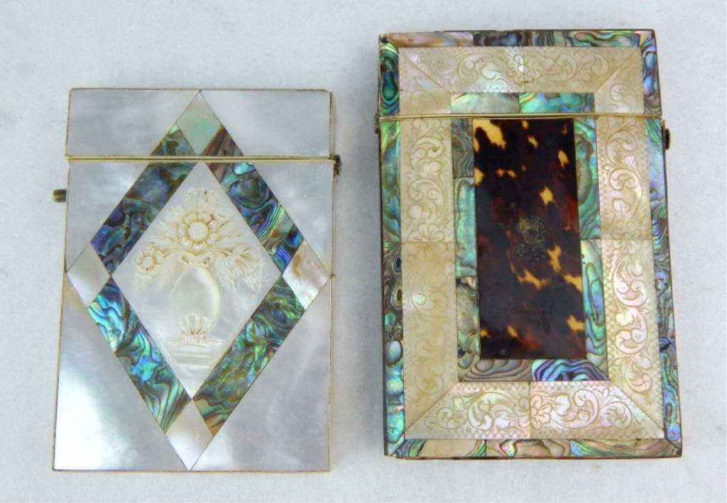 Mother of Pearl and Tortoise Shell Card Cases