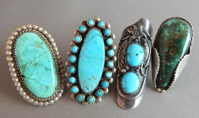 Navajo Zuni Turquoise Old Pawn Rings