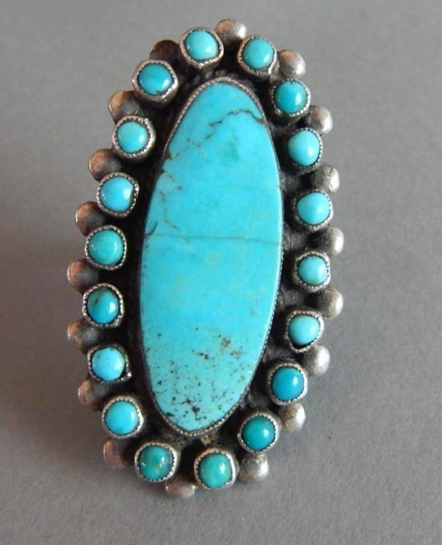 Navajo Zuni Turquoise Old Pawn Rings - 4