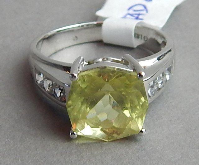 18k White Gold Danburite & Diamond Ring