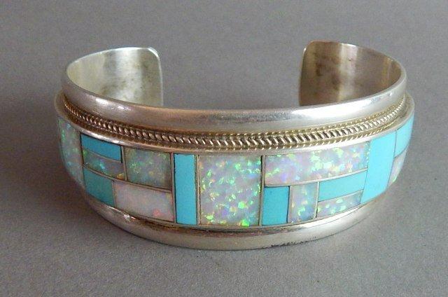 Navajo Sterling Turquoise & Opal Bracelet