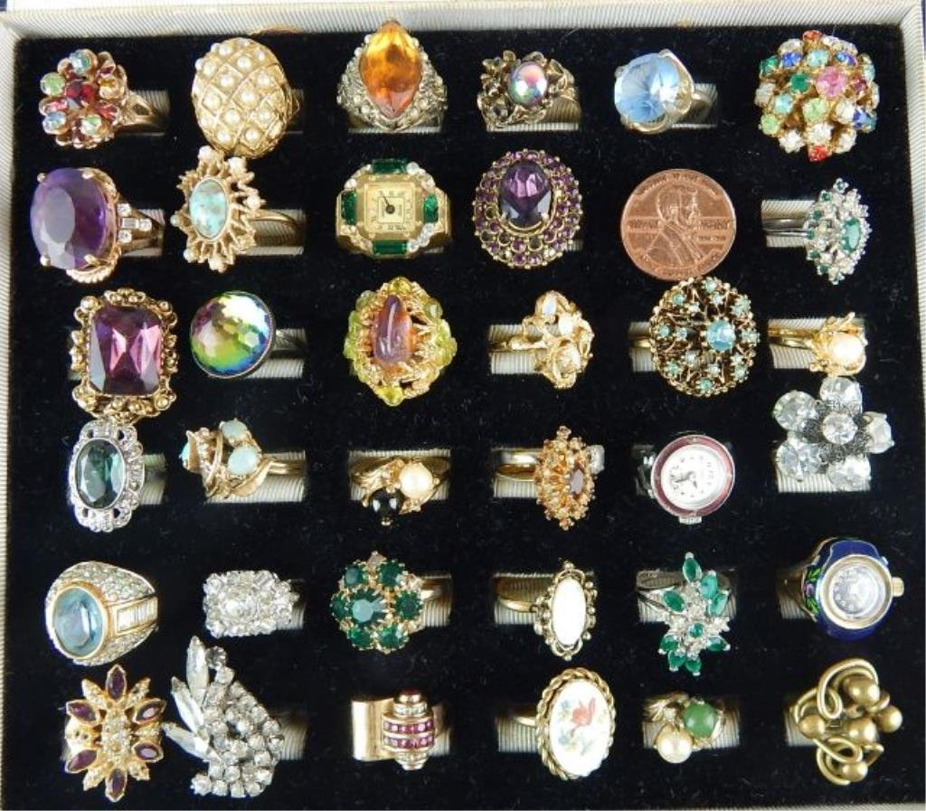 Thirty-six Assorted Vintage Rings