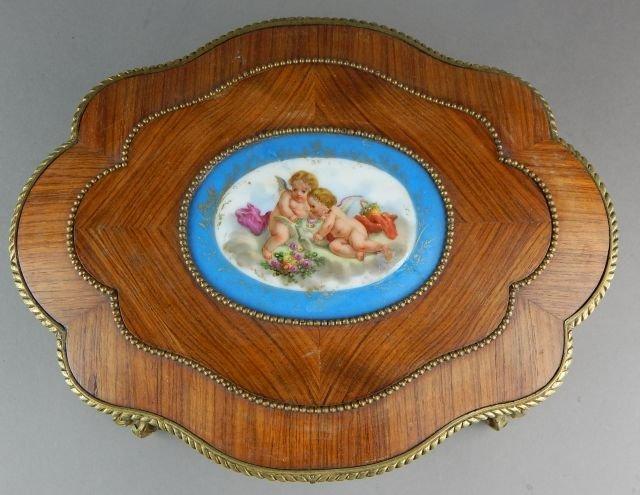 French Box w/ Gilt Ormolu and Porcelain Plaque - 3