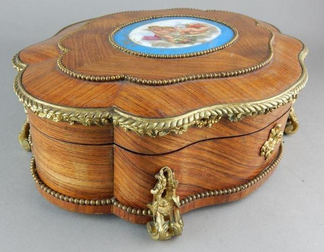 French Box w/ Gilt Ormolu and Porcelain Plaque - 5