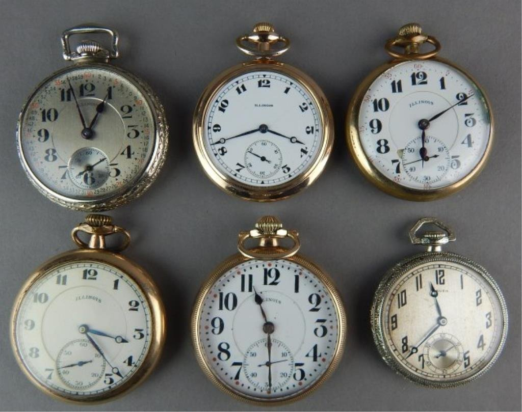 Six Old Pocket Watches