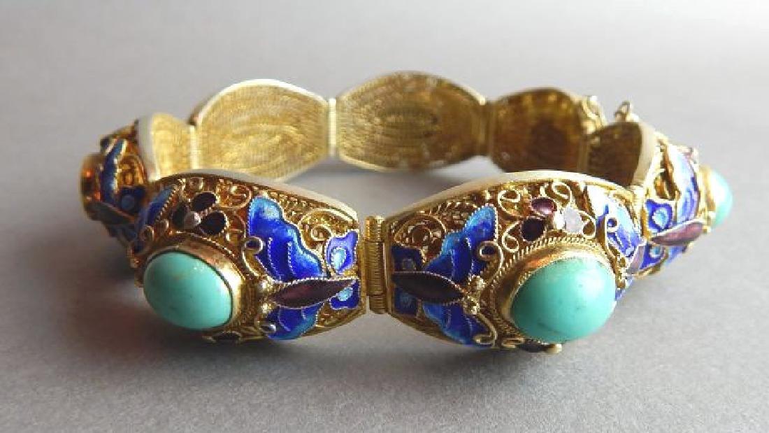 Sterling, Turquoise and Enamel Bracelet