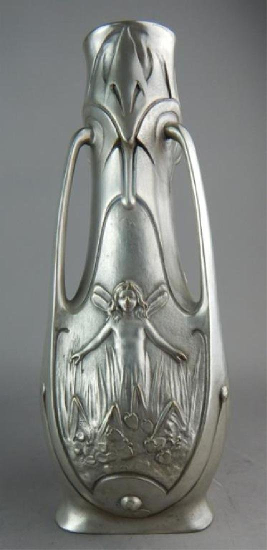 Art Nouveau Silvered Bronze Pixie Vase