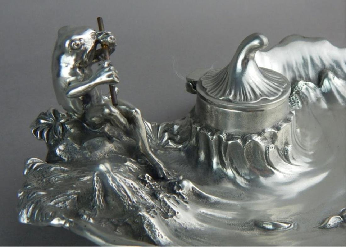 Art Nouveau WMF Style Pewter Frog & Inkwell - 2