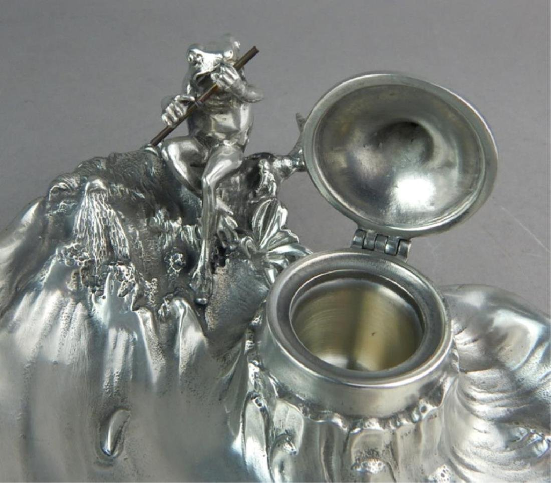 Art Nouveau WMF Style Pewter Frog & Inkwell - 3