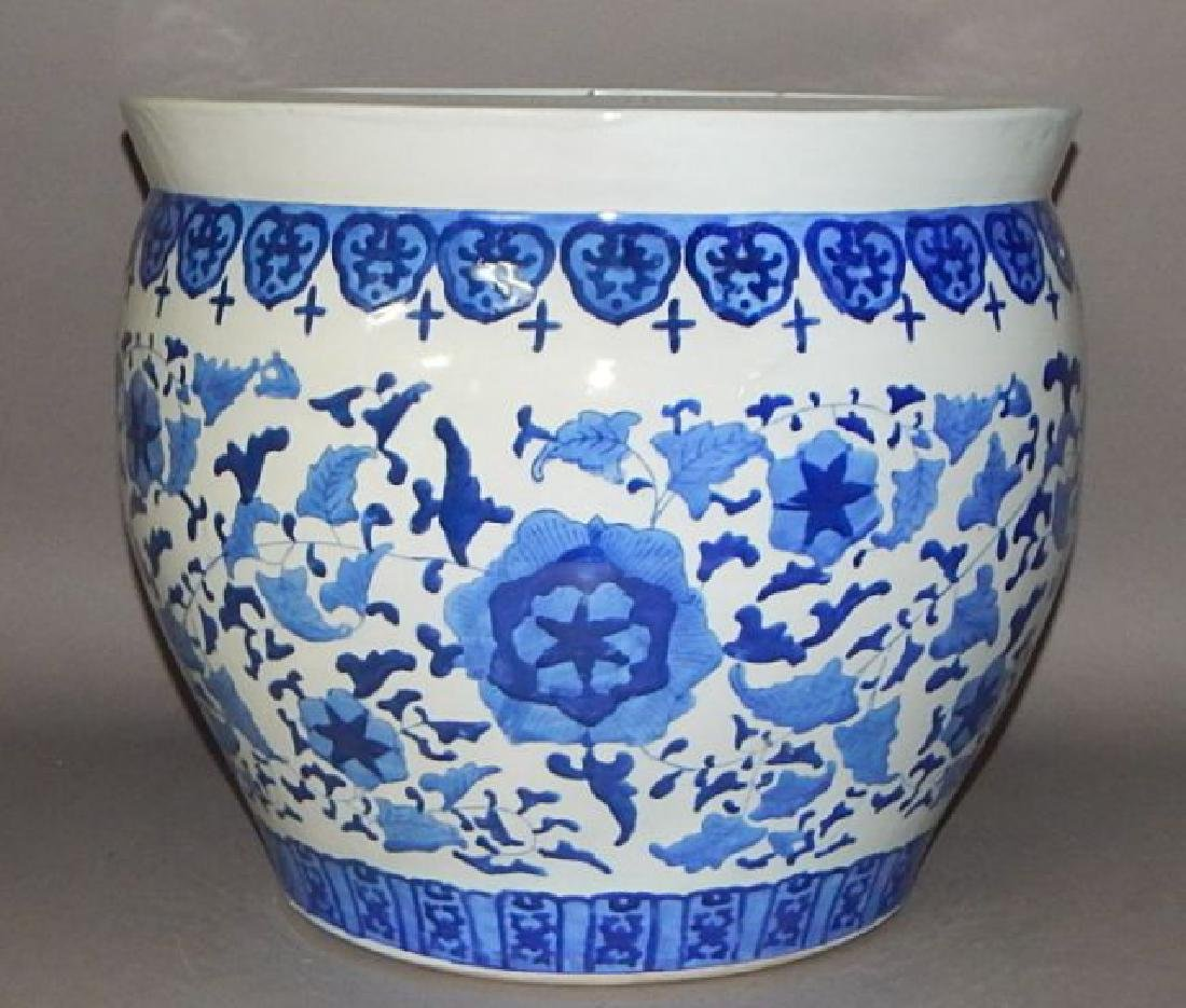 Large Chinese Blue and White Porcelain Fish Bowl