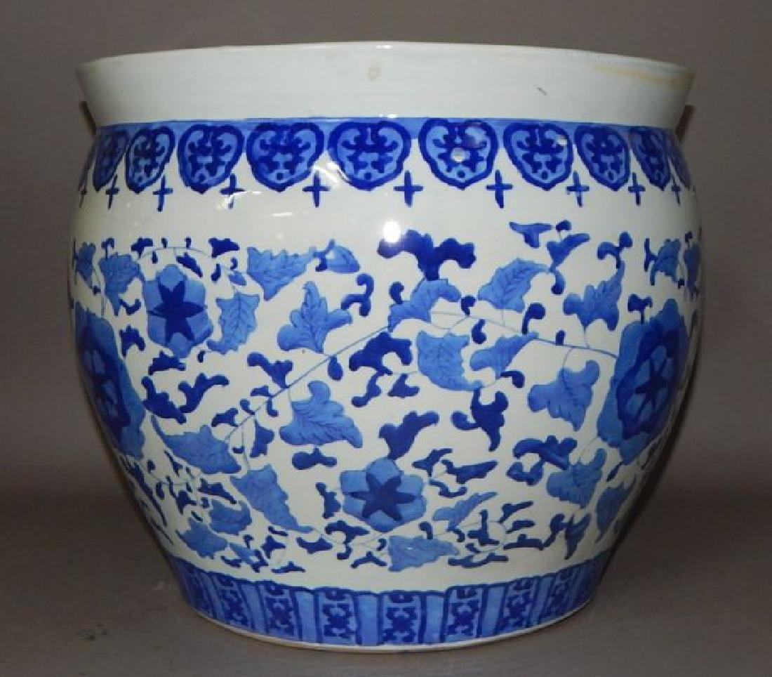 Large Chinese Blue and White Porcelain Fish Bowl - 3