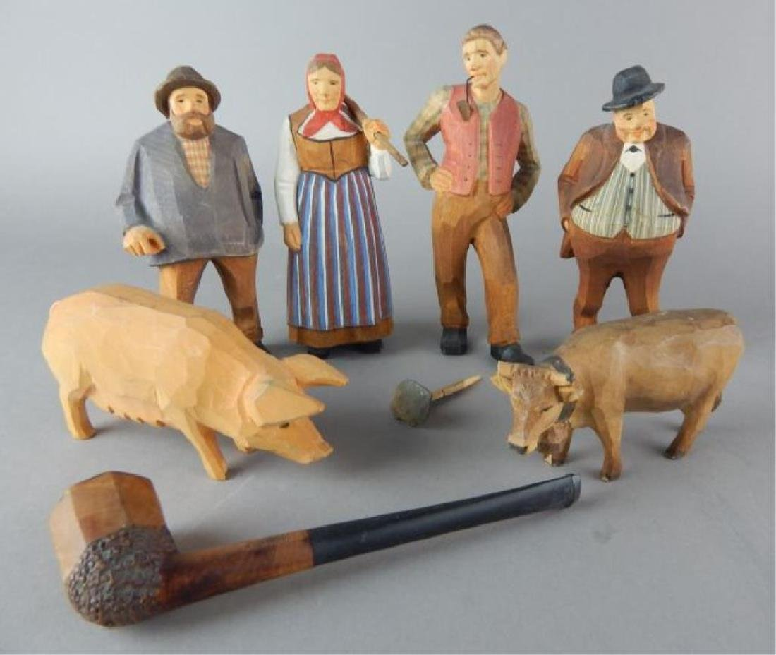 Carved Wood Figures and Pipe