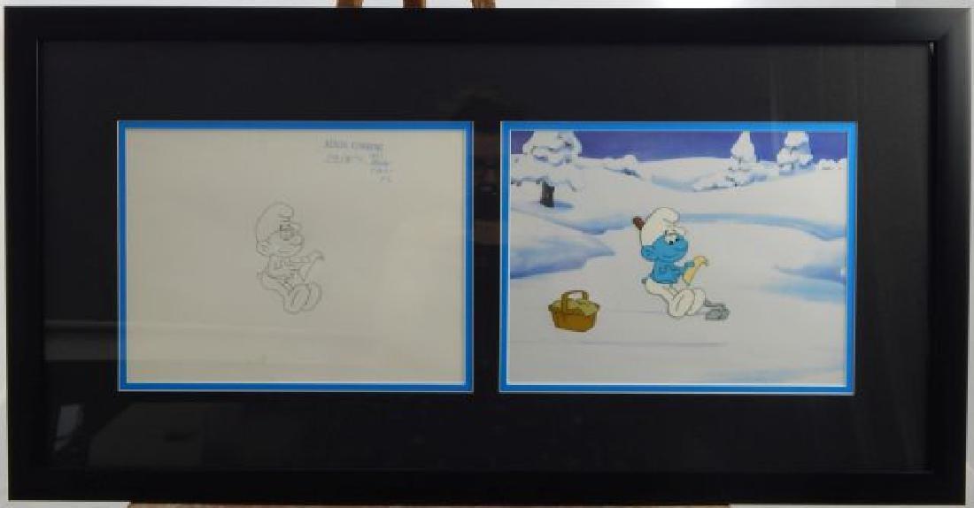 """(281) Hanna Barbera """" Smurfs"""" Picnic Basket"""