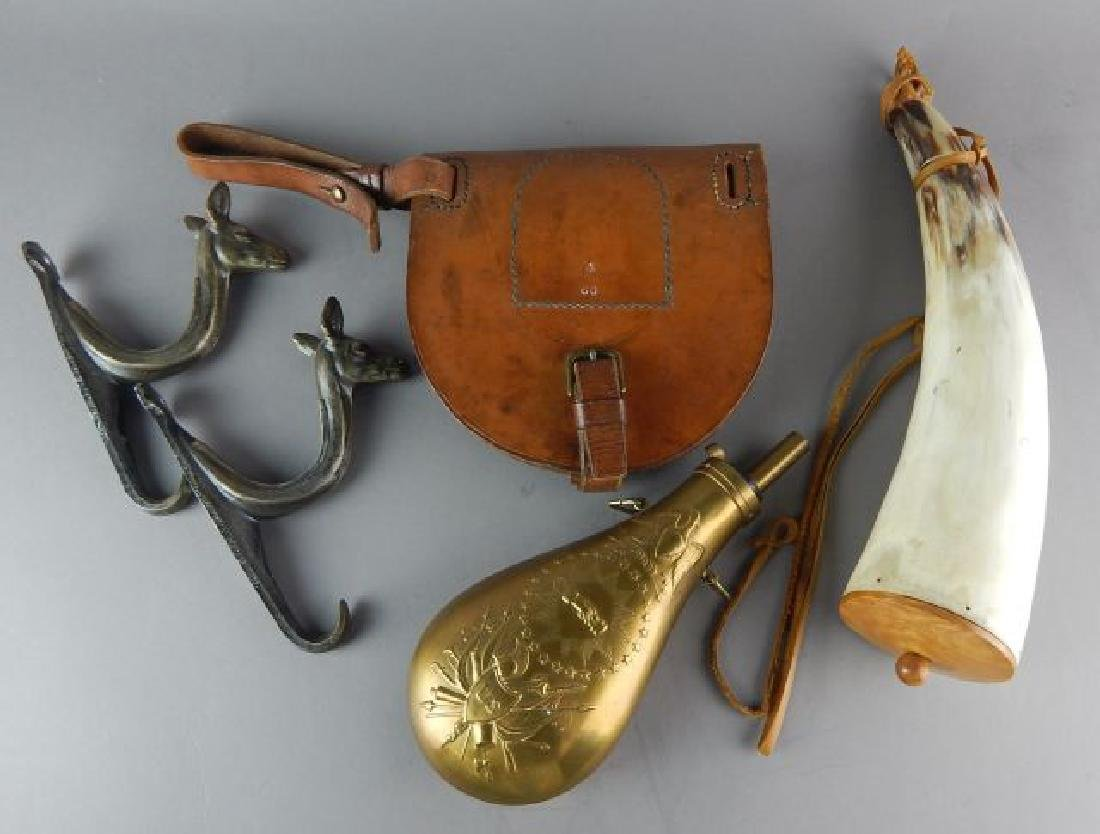 Two Powder Horns, Rifle Hangers & Pouch
