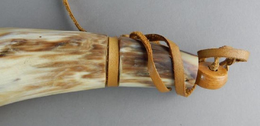 Two Powder Horns, Rifle Hangers & Pouch - 3