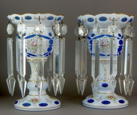 Pair of Bohemian Lustre with Crystal Prism