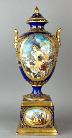 19th Century Dresden Jeweled Porcelain Covered Urn