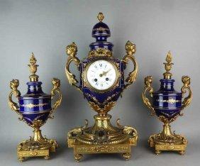 French Sevres Porcelain & Gilt Bronze Clock Set